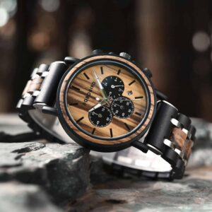 Natural Ebony & Zebrawood & Stainless Steel Combined Wood Watch Personalized Gifts For Him - North S09X