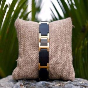 Handmade Natural Ebony Wooden Bracelets - Metal GT039-1B