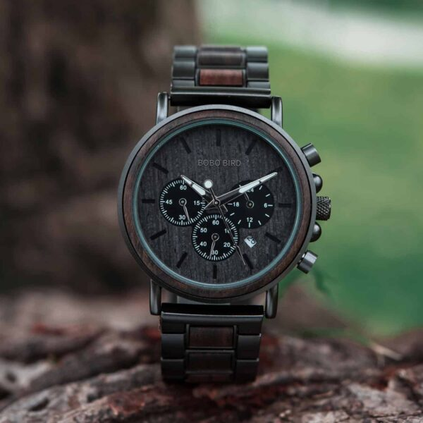 Classic Handmade Personalized Gift Ebony Men's Wooden Watches Best Gift Ideas for Men 2021 - Explorer