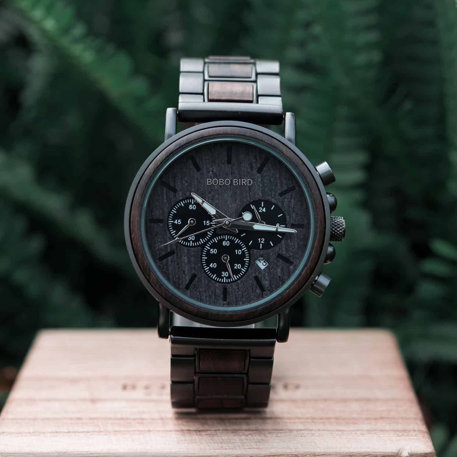 Classic Handmade Personalized Gift Ebony Men's Wooden Watches Best Gift Ideas for Men 2021 - Explorer Q26-1_7