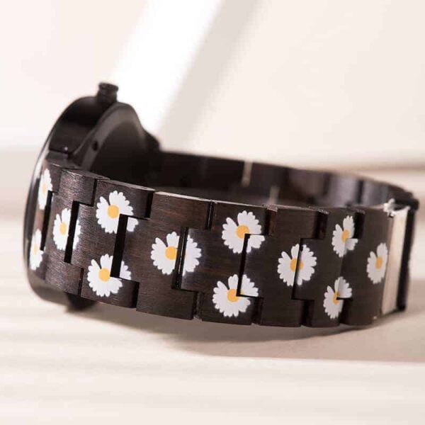 The Fashion Handmade Ebony Printed Unique Wooden Watches - Daisies F38-1