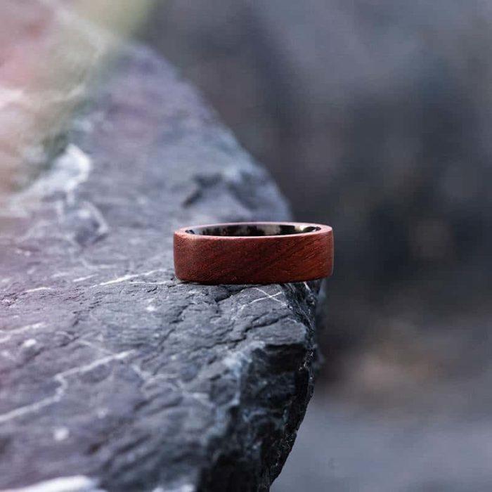 Rosewood Wood Ring Wood Band Climbing Ring Traveler gift Anniversary Gift WR 1 8