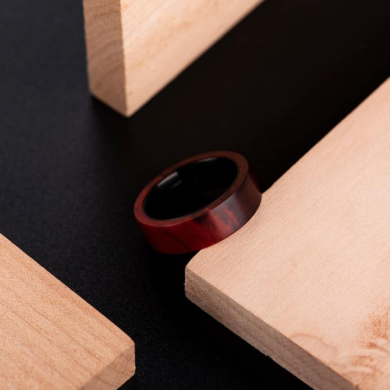 Anniversary Wooden Ring Custom Redwood Wooden Ring Mens wooden rings for men GSP09 01L 17