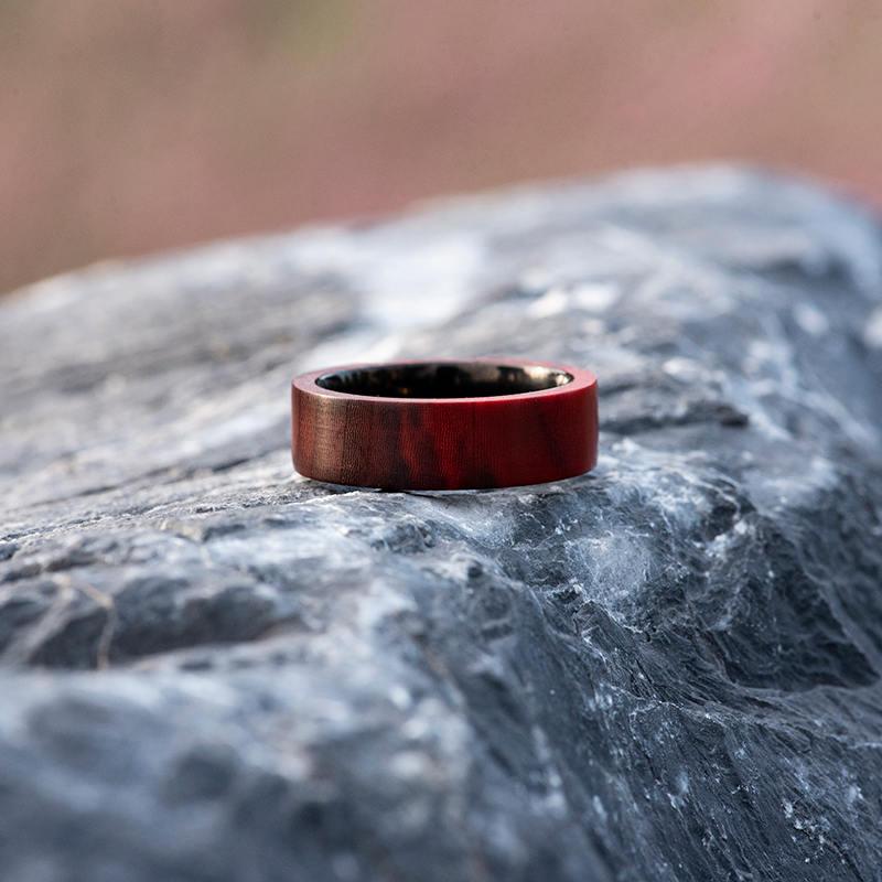 Anniversary Wooden Ring Custom Redwood Wooden Ring Mens wooden rings for men GSP09-01L-7