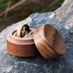 Mens Wood Wedding Band Black Tungsten Wood Ring Lined with Whisky Barrel White Oak Mens Wedding Band GSP10-01K