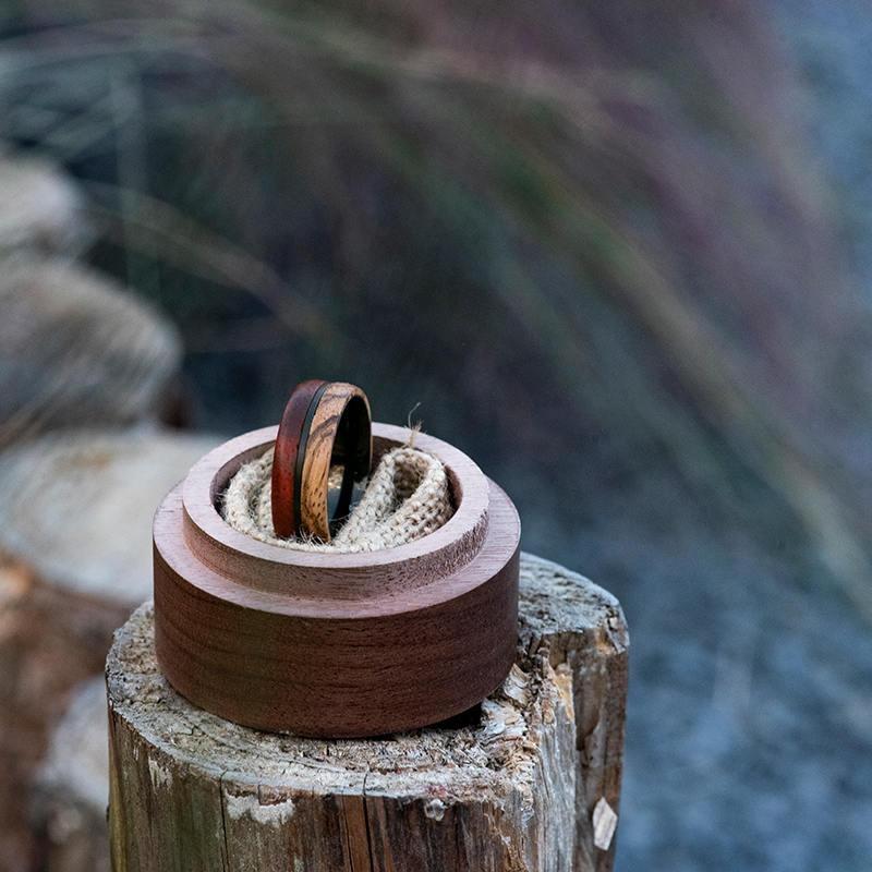 Redwood & Zebrawood wedding band, Black tungsten wooden ring, Wooden ring for men, Men's wedding band ring GSP11-01J-11