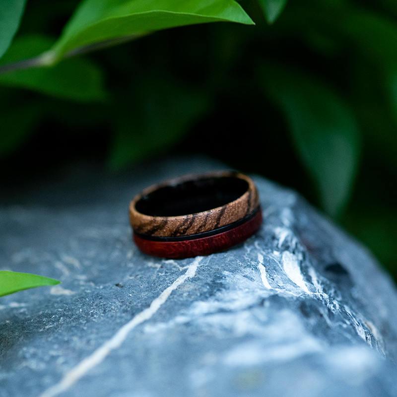 Redwood & Zebrawood wedding band, Black tungsten wooden ring, Wooden ring for men, Men's wedding band ring GSP11-01J-12