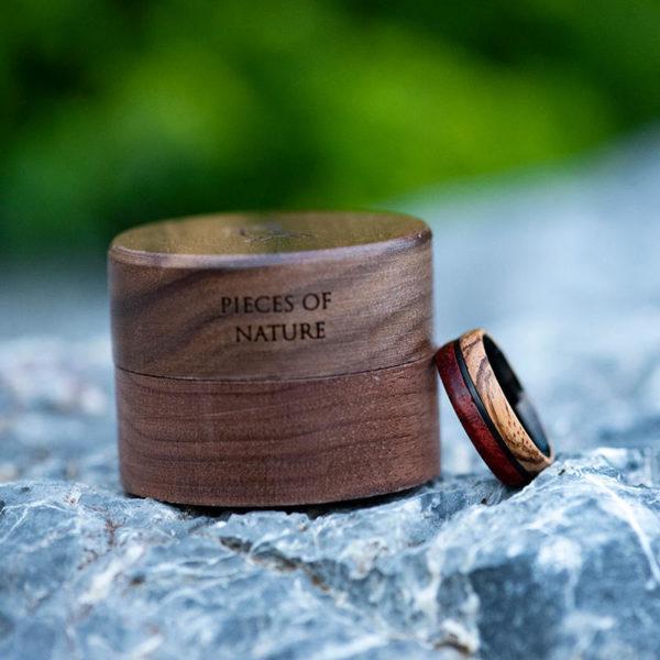 Redwood & Zebrawood wedding band, Black tungsten wooden ring, Wooden ring for men, Men's wedding band ring GSP11-01J