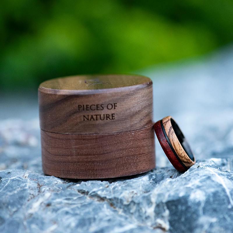 Redwood & Zebrawood wedding band, Black tungsten wooden ring, Wooden ring for men, Men's wedding band ring GSP11-01J-13