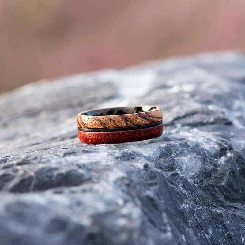 Redwood & Zebrawood wedding band, Black tungsten wooden ring, Wooden ring for men, Men's wedding band ring GSP11-01J-5