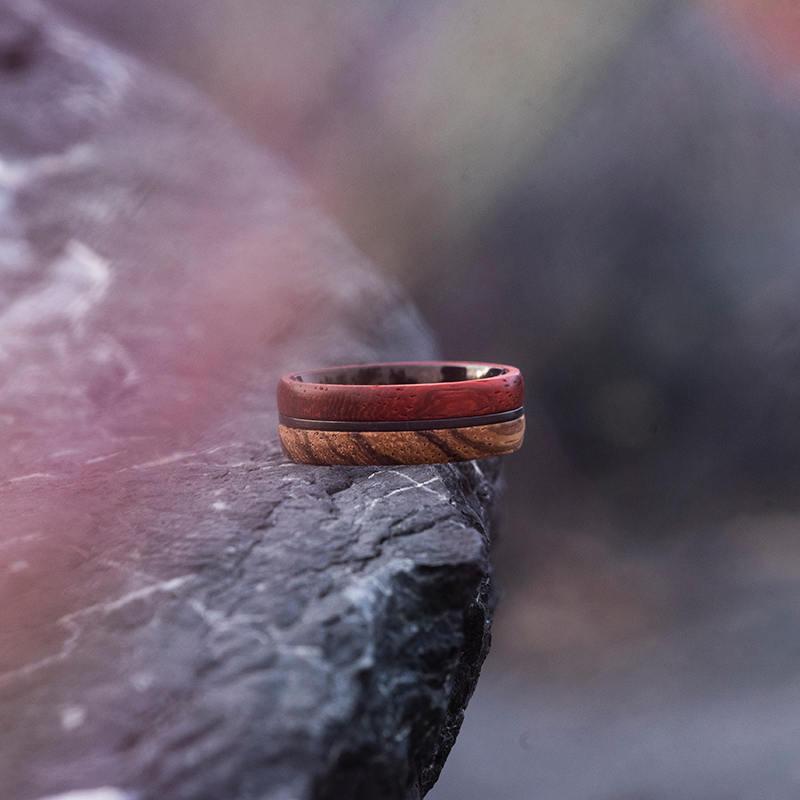 Redwood & Zebrawood wedding band, Black tungsten wooden ring, Wooden ring for men, Men's wedding band ring GSP11-01J-7
