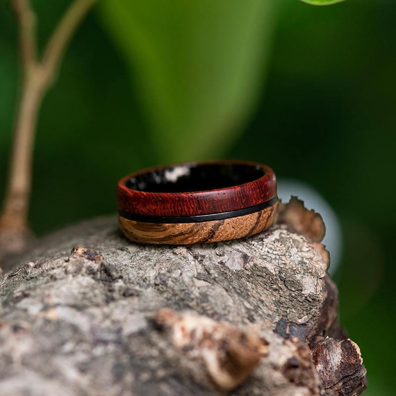 Redwood & Zebrawood wedding band, Black tungsten wooden ring, Wooden ring for men, Men's wedding band ring GSP11-01J-8