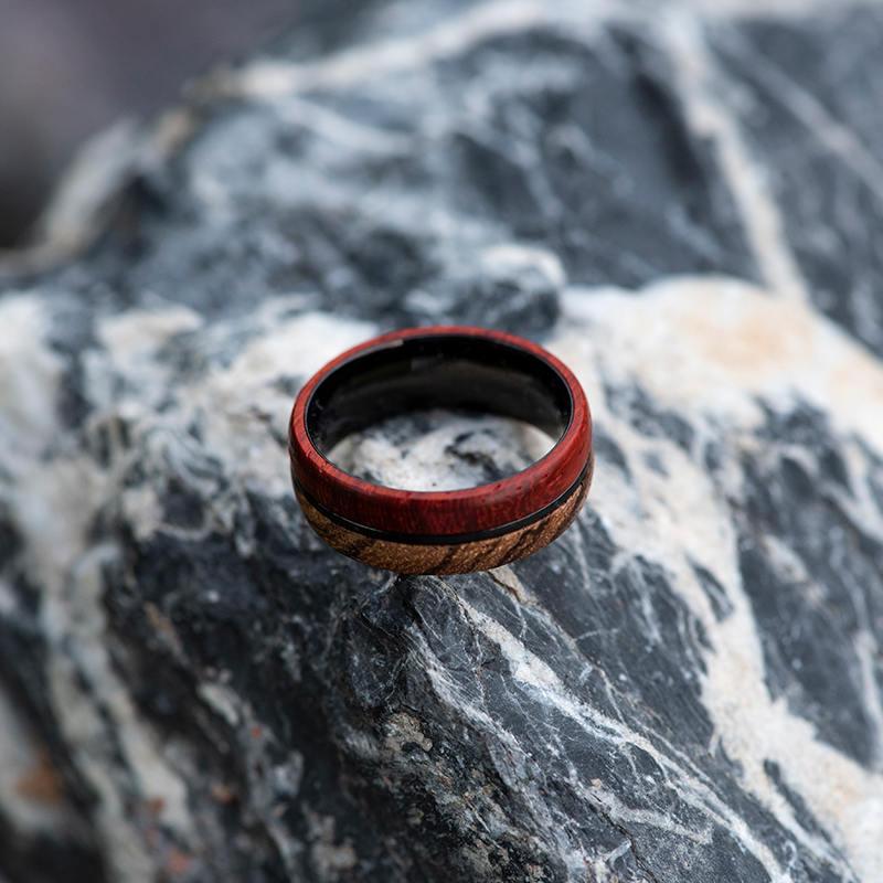 Redwood & Zebrawood wedding band, Black tungsten wooden ring, Wooden ring for men, Men's wedding band ring GSP11-01J-9