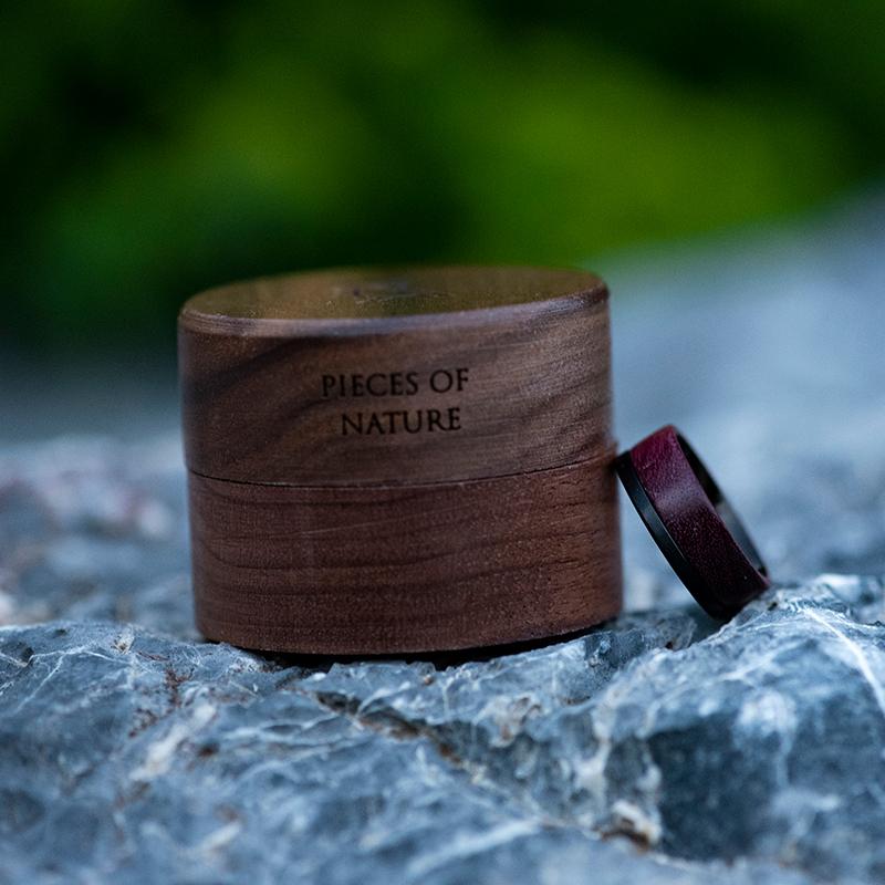 Wood wedding band, Black tungsten wooden ring, Wooden ring for men, Men's wedding band ring GSP10-01L-13