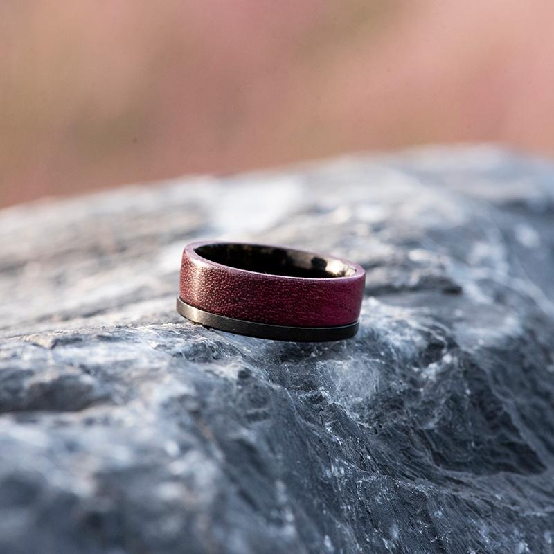 Wood wedding band, Black tungsten wooden ring, Wooden ring for men, Men's wedding band ring GSP10-01L-4