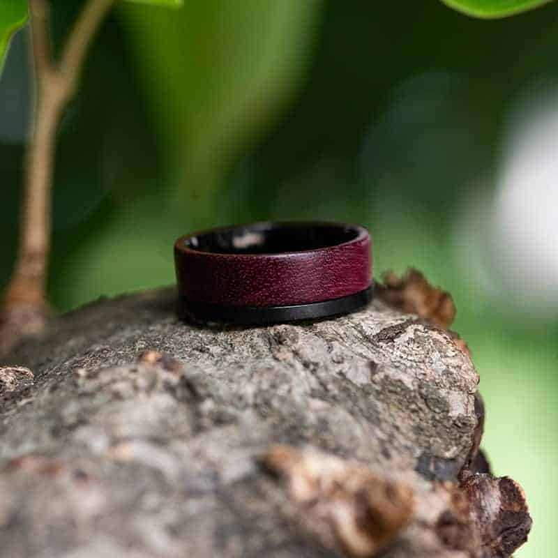Wood wedding band, Black tungsten wooden ring, Wooden ring for men, Men's wedding band ring GSP10-01L-8