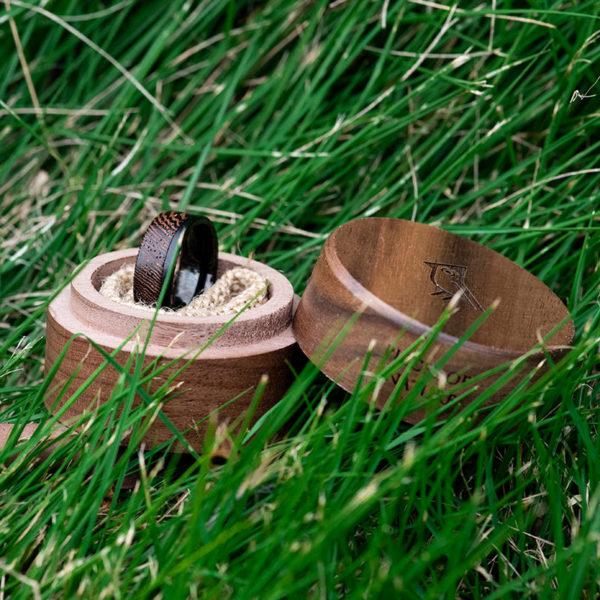 Wood Wedding Band - Snakewood & Black Tungsten Wedding Band Ring GSP10-01J