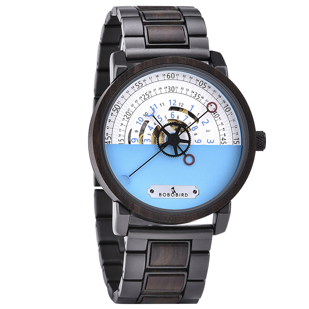 Personalized Automatic Mechanical Handmade Wooden Watches Aviation Military Style Ebony Watch GT043-1A-3
