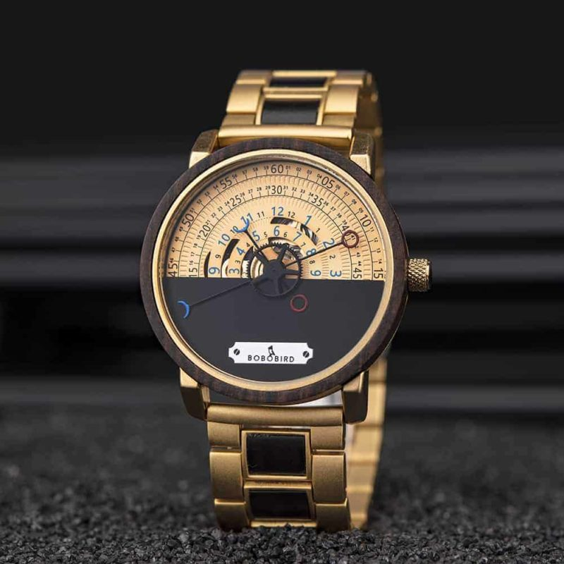 Personalized Automatic Mechanical Handmade Wooden Watches Aviation Military Style Ebony Watch GT043-2A