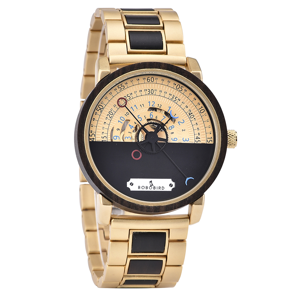 Personalized Automatic Mechanical Handmade Wooden Watches Aviation Military Style Ebony Watch GT043-2A-3