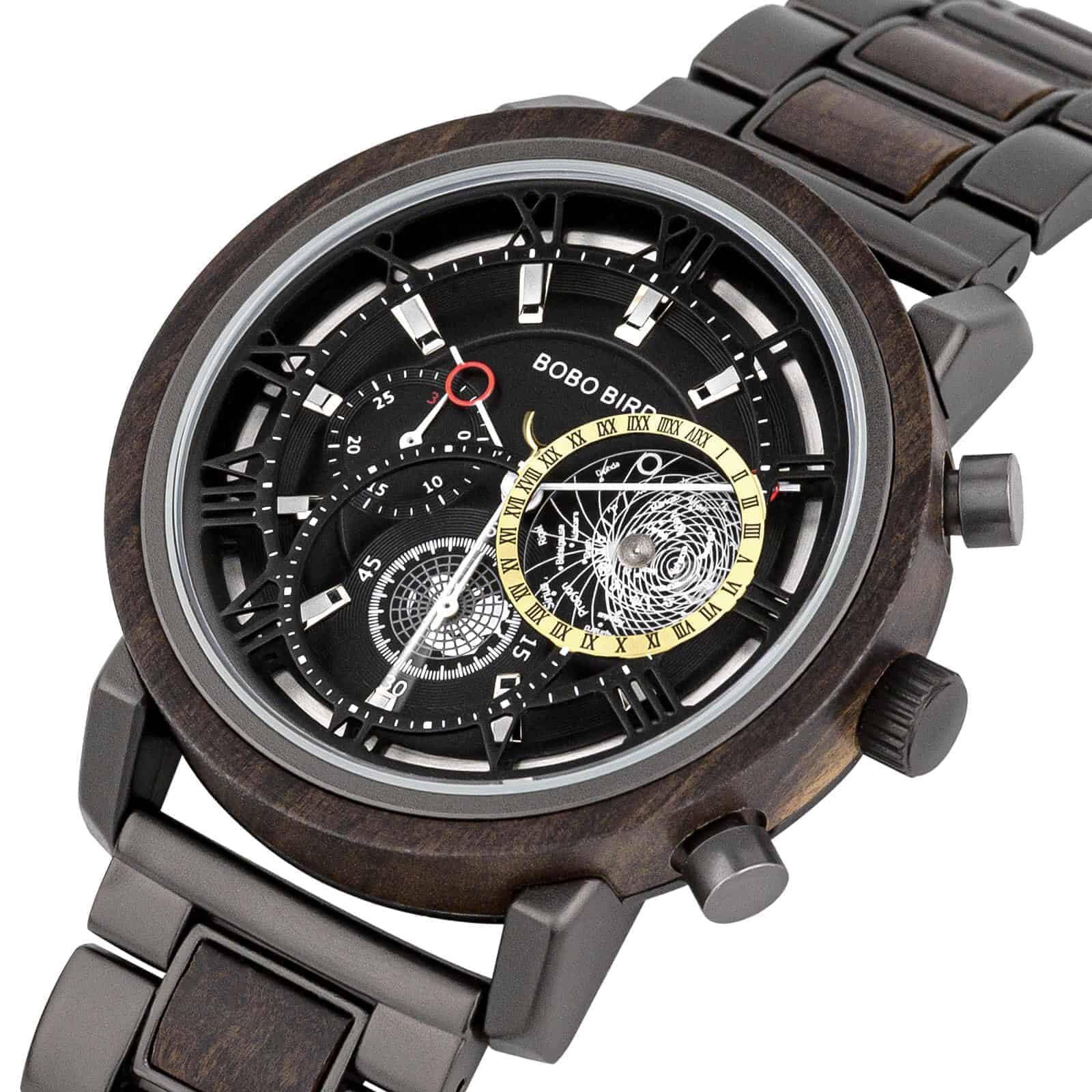 Personalized Wood Watch Ebony Chronograph Watch GT044-1A