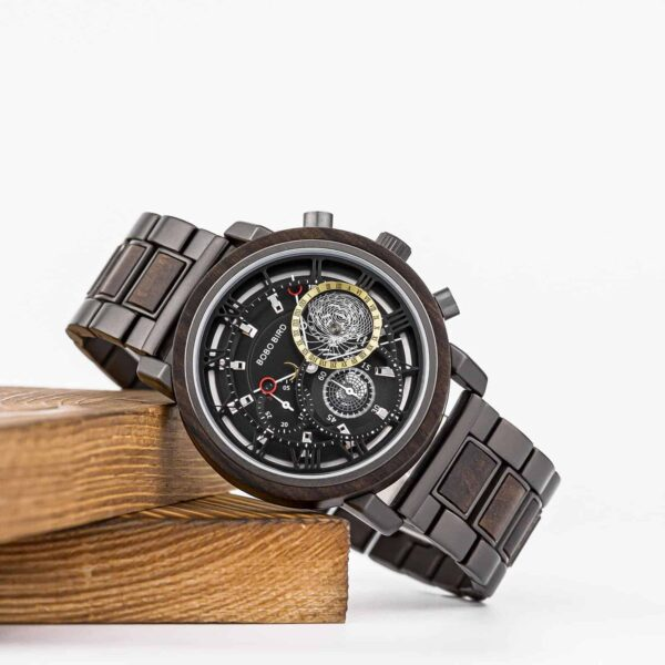 Personalized Handmade Wooden Watch Ebony Chronograph Watch GT044-1A