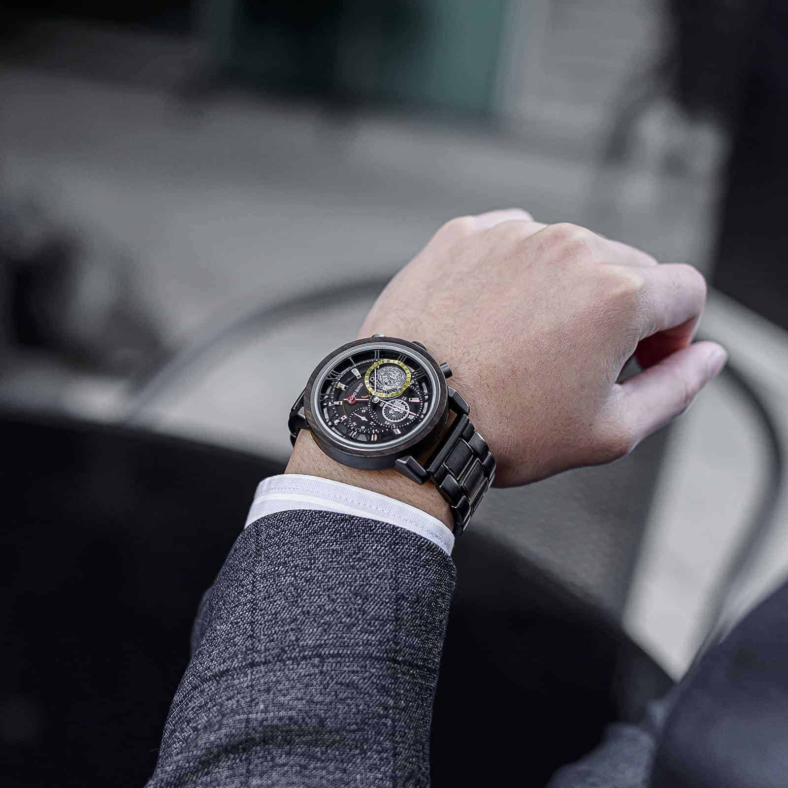 Personalized Wood Watch Ebony Chronograph Watch GT044-1A_21