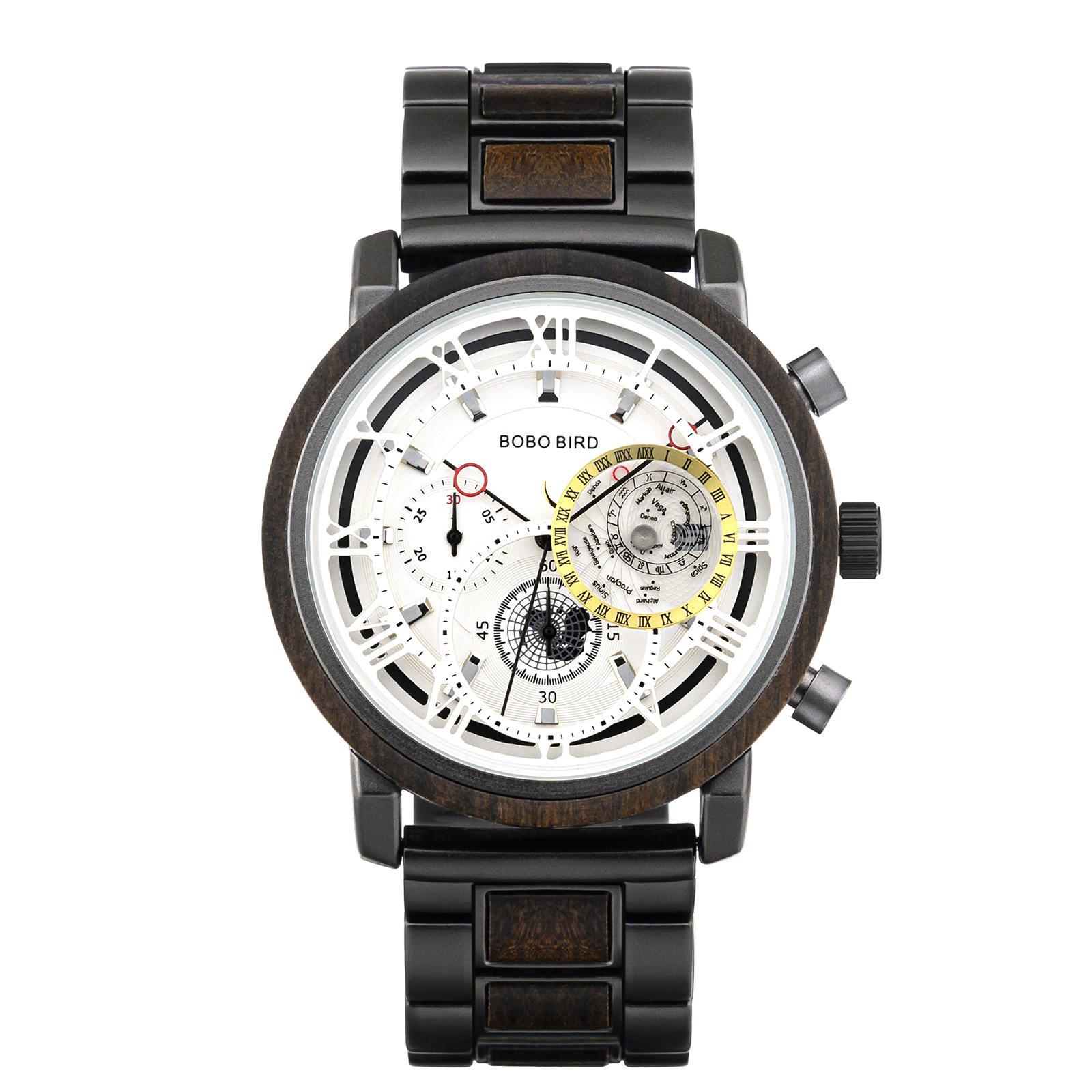 Personalized Wood Watch Ebony Chronograph Watch GT044-2A