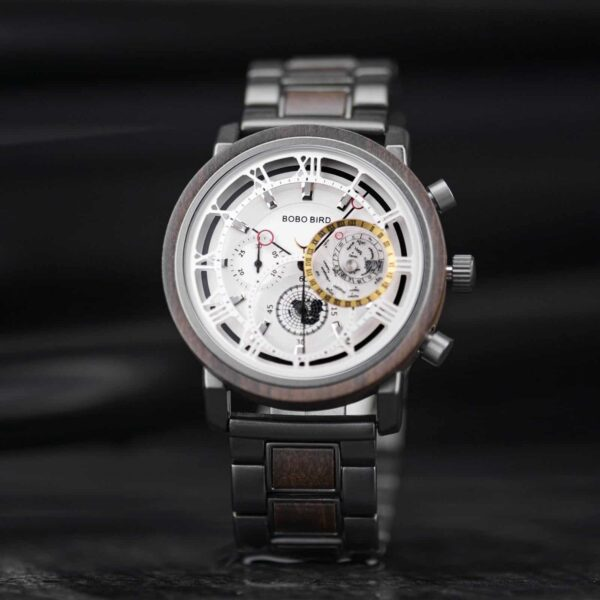 Personalized Handmade Wooden Watch Ebony Chronograph Watch GT044-2A
