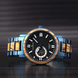 Automatic Mechanical Wooden Watch Blue Fashion Casual Water Resistant Luxury Watches GT045-1A