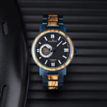Wooden Men's Wristwatches Stylish Automatic Mechanical Wooden Watch Blue Fashion Casual Water Resistant Luxury Watches GT045-1A