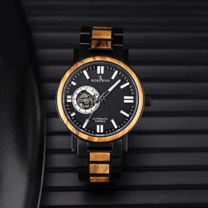 Wooden Men's Wristwatches Stylish Automatic Mechanical Wooden Watch Blue Fashion Casual Water Resistant Luxury Watches GT045-2A
