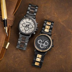 Engraved Wooden Watch For Men Top Brand Luxury Chronograph Military Quartz Watches GT050-1A