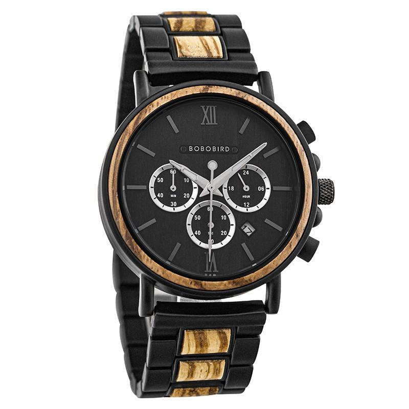 Wooden Watch Engraved Bobo Bird New Wooden Watch Men Top Brand Luxury Chronograph Military Quartz Watches GT050-1A