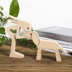 A Woman with Big Floppy Ears Dog Wood Sculpture, Gifts for Dog Lovers, Home Decor for Dog Lovers GPL00065