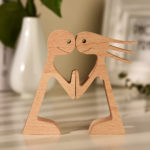 Couple Man and Woman Stand Wood Sculpture, Couple Wooden Carving Gifts Home Decor