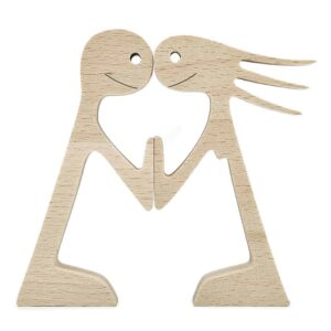 Couple Man and Woman Stand Wood Sculpture, Couple Wooden Carving Gifts Home Decor GPL00067