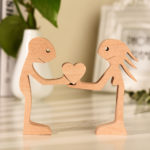 Couple Man and Woman with Heart Wood Sculpture, Couple Wooden Carving Gifts, Valentine Wooden Gifts, Bessgear Unique Custom Valentine Gifts
