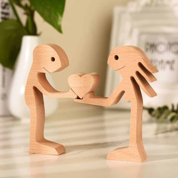 Couple Man and Woman with Heart Wood Sculpture Couple Wooden Carving Gifts Valentine Wooden Gifts Bessgear Unique Custom Valentine Gifts GPL00059
