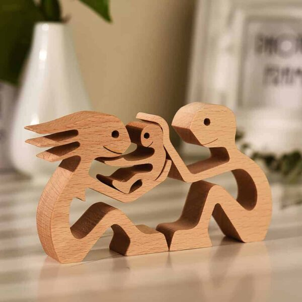 Couple with One Kid Wood Sculpture, Couple Wooden Carving Gifts Home Decor GPL00066