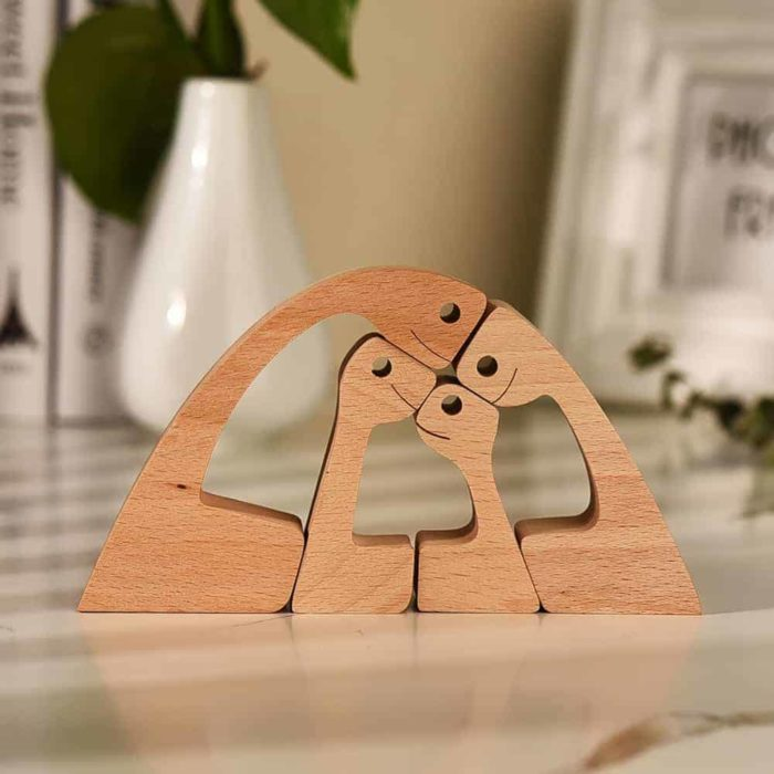 Couple with Two Kids Wood Sculpture, Wooden Carving Gift Home Decor
