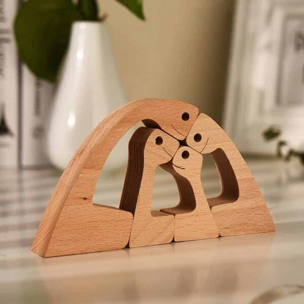 Couple with Two Kids Wood Sculpture, Wooden Carving Gift Home Decor GPL00063