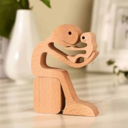 Dad with Children Wood Sculpture, Wooden Home Decor, Fathers Day gift for Him
