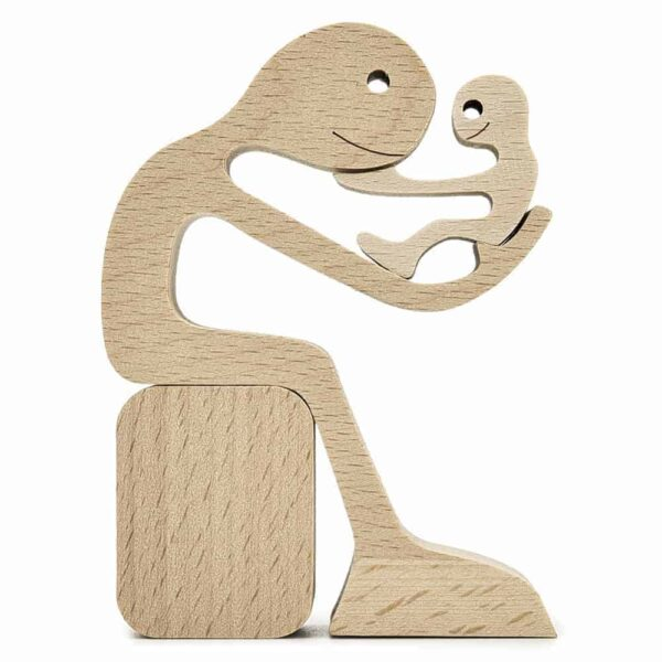 Dad with Children Wood Sculpture, Wooden Home Decor, Fathers Day gift for Him GPL00061