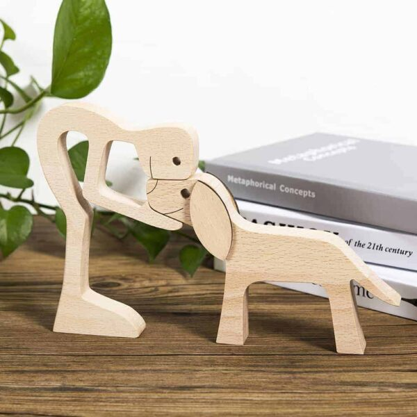 Man with Big Floppy Ears Dog Wood Sculpture GPL00064