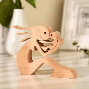 Mom and Children Wood Sculpture, Mothers Day Wooden Carving Gifts, Wooden Gifts for Wife Mom