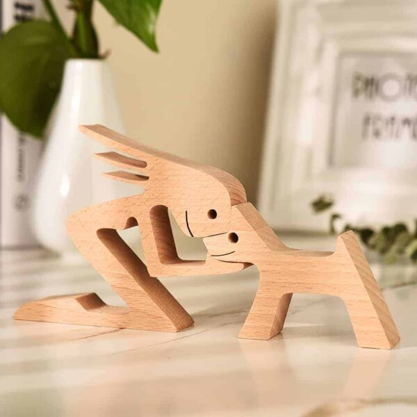 Personalized Dog Love Figures | A woman a dog | Wood Sculpture | Carved Wood | Pet Lover Gift | Pet Memorial