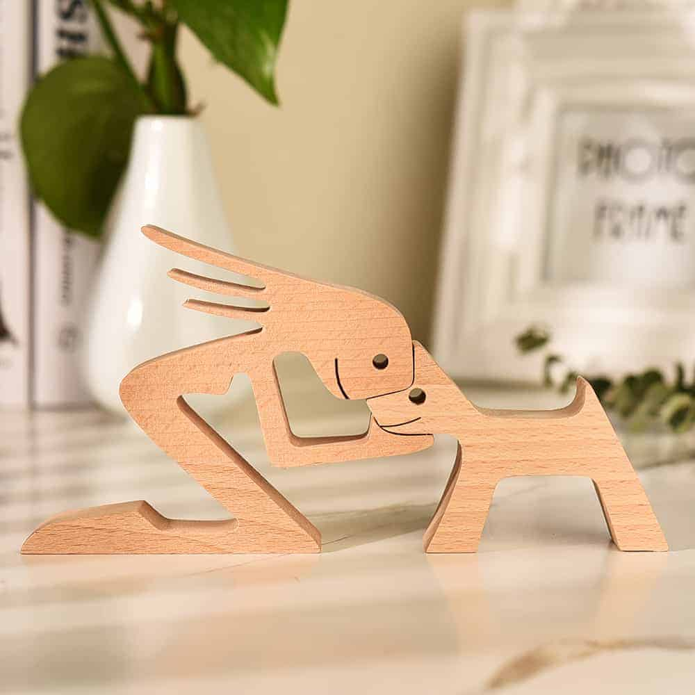 Personalized Dog Love Figures A woman a dog Wood Sculpture Carved Wood Pet Lover Gift Pet Memorial