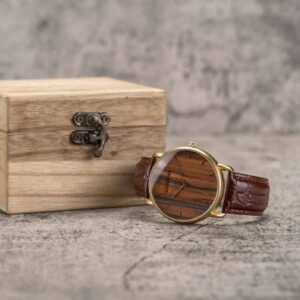Classic Wood Watch Rosewood Gold GT058-3A