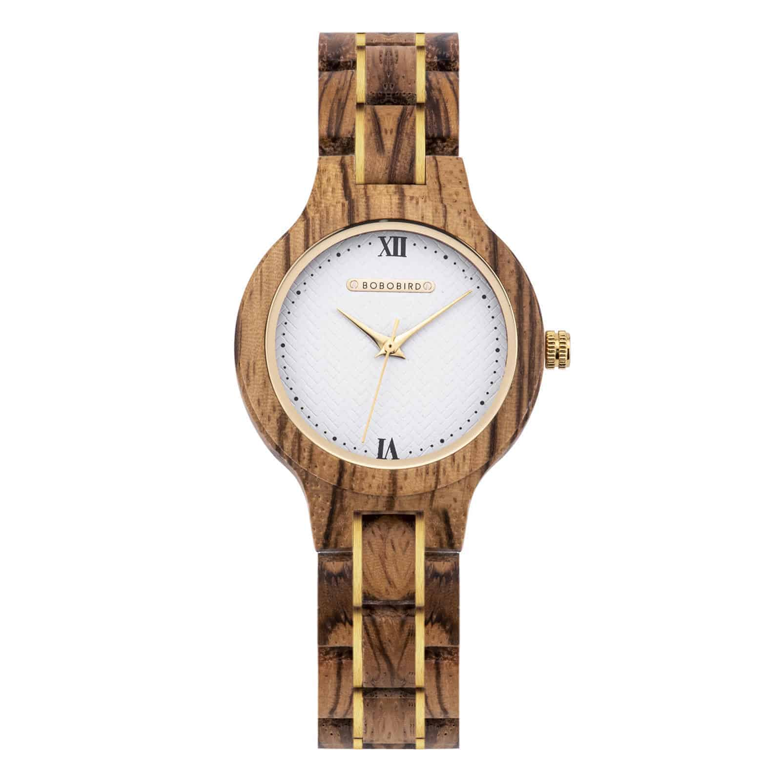 Wooden Watches for Women Natural ZebraWood Glod - Sky
